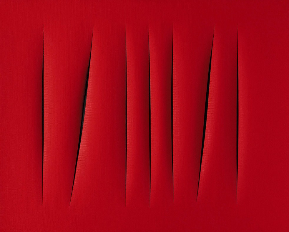 20th Century Italian Sale Sotheby's London - 15 October, 2007Lucio Fontana (1899-1968)Concetto Spaziale, Attesesigned, titled and inscribed Questo quadro a sette tagli... on the reversewaterpaint on canvasExecuted in 1968.Estimate: �700,000 - �1,000,000