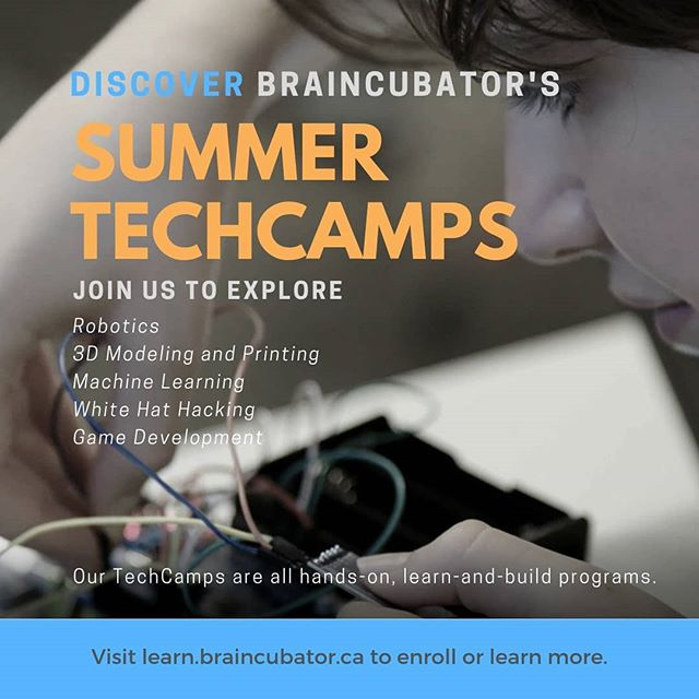 We're really excited about our upcoming series of summer TechCamps!  We've been working closely with #dragonacademy to develop and deliver our TechCamps this year.  To enroll or find out more, head over to learn.braincubator.ca  #techcamp #stemeducation #stem #robotics #coding #codingbootcamp #3dprinting #3dmodeling #summercamp2019 #diy #machinelearning