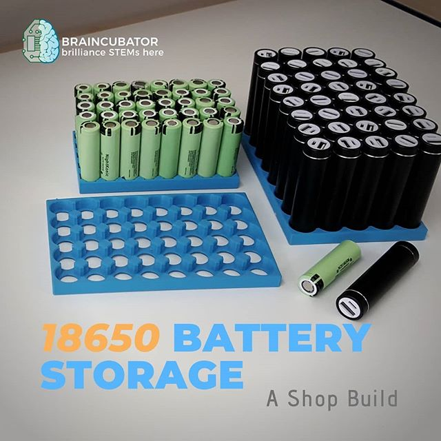 We use 18650 batteries in many of our projects... The batteries and chargers are starting to pile up!  We thought we'd put the #prusai3mk3 to work on helping to solve this problem. We measured the batteries and their chargers, then used #fusion360 to model a holder for them. It only took 2 iterations to get it just right, so we must be getting the hang of this!  These holders are doing well to keep our storage areas organized, and it's easy now to transport our 18650s to and from workshops.  If you'd like to learn more about how you take on a project like this yourself, Braincubator is offering 3D Modeling and Printing TechCamps this summer. Check them out at braincubator.ca  #summercamp #summercamp2019 #stem #stemeducation #3dmodeling #3dprinting #shopbuild #18650 #aliexpress #organized #diy