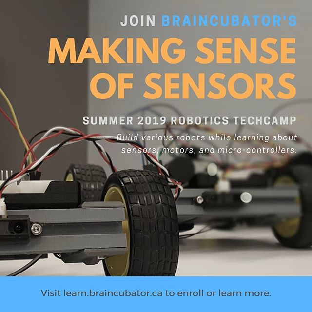 Braincubator's Summer TechCamps are just a few months away!  Making Sense of Sensors is an introductory robotics TechCamp where participants explore various sensors, motors, and micro-controllers as they delve into the world of robotics.  It's a great way to learn about what the field has to offer, while actually building robots of your own.  Visit learn.braincubator.ca for details, and to see our other TechCamps being offered this summer.  #stem #stemeducation #summercamp #summercamp2019 #techcamp #tech #braincubator #robotics