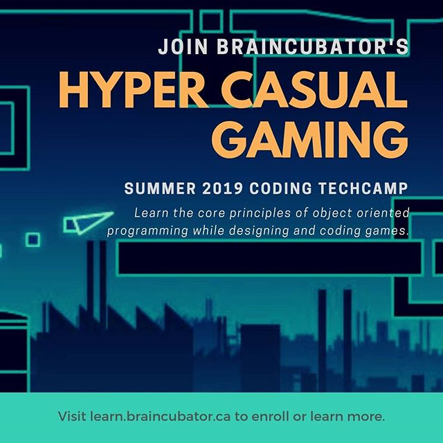 Braincubator's Summer TechCamps are fast approaching!  Hyper Casual Gaming is a great way to learn to code. Participants are introduced to the ins and outs of object oriented programming as they design and develop video games of their own.  Visit learn.braincubator.ca for details, and to see our other coding and robotics TechCamps being offered this summer.  #stem #stemeducation #summercamp #summercamp2019 #techcamp #tech #braincubator #coding #learntocode #gaming #hypercasualgames