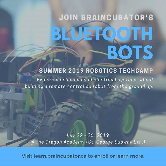 Braincubator's Summer TechCamps are here!  Bluetooth Bots is a great way to learn robotics. Learn about various mechanical and electrical systems, then build them to your own design. By the week's end, participants will have built and programmed their own remote controlled robot.  Visit learn.braincubator.ca for details, and to see our other coding, robotics, and design TechCamps being offered this summer.  #stem #stemeducation #summercamp #summercamp2019 #techcamp #tech #braincubator #coding #learntocode #robotics #diy #rc #robots #design