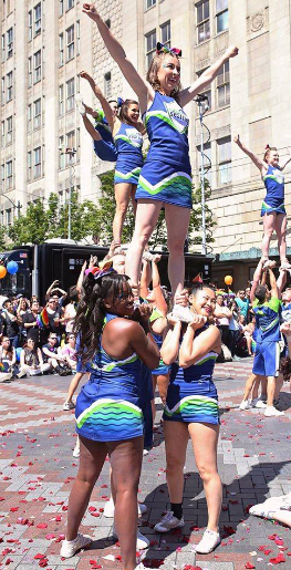 Nicole, performing with Cheer Seattle, 2016