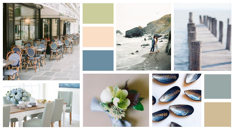 seaside design dining table beach inspiration board color pallet