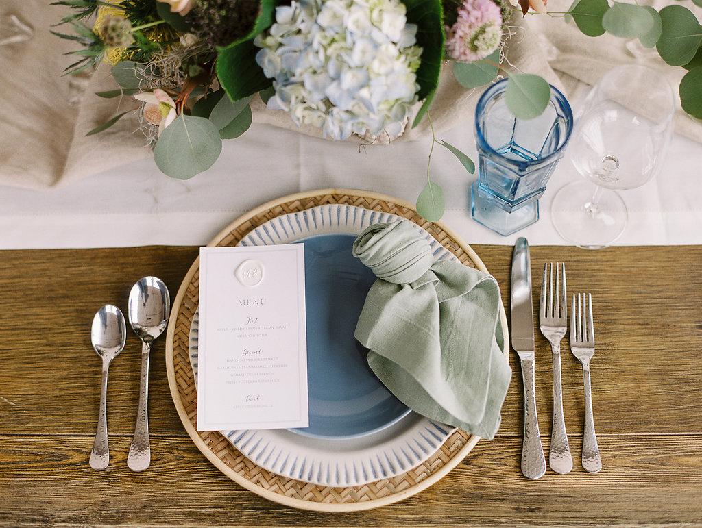 blue green dining table design seaside beach inspired dayton wedding event planner