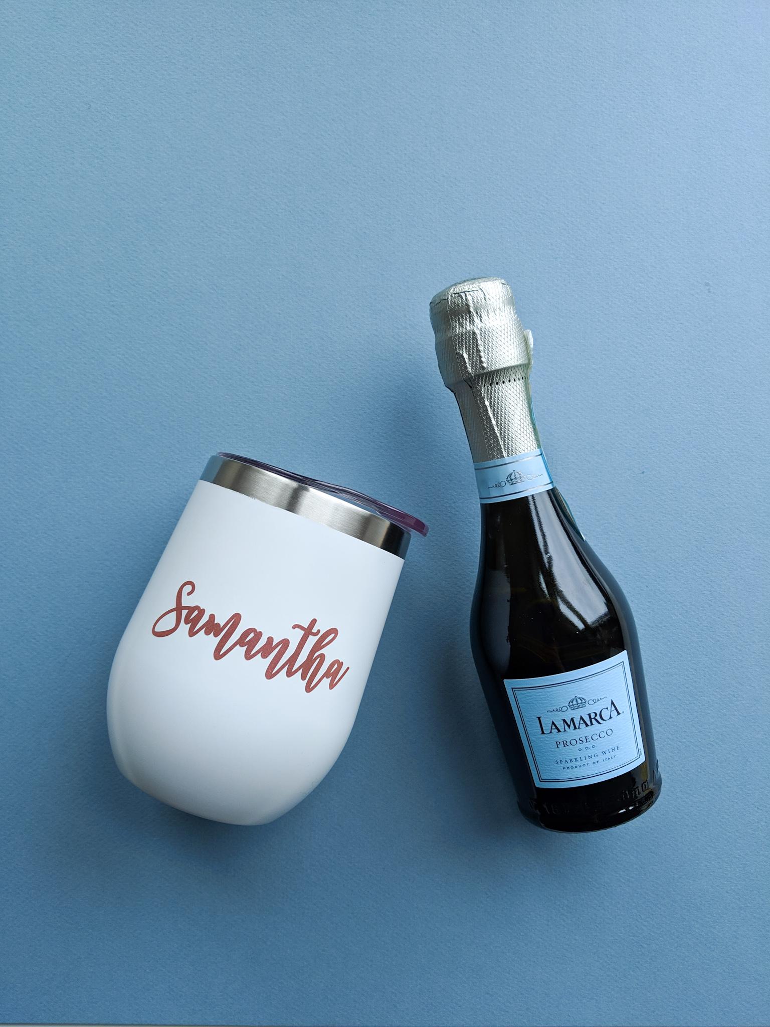 bridesmaids gift stemless wine glass