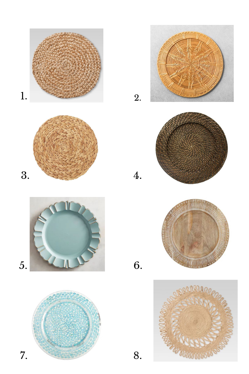 best nautical woven or rattan charger plates