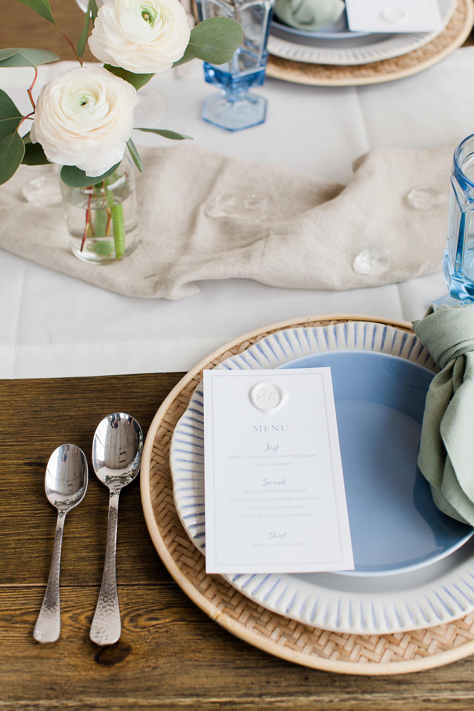 blue tablescape beach seaside ocean inspired event planner dayton wedding