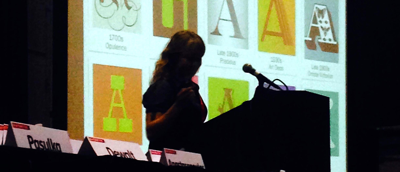 Sarah Hyndman sepaking at SXSW, photo by J. Aden Higgs