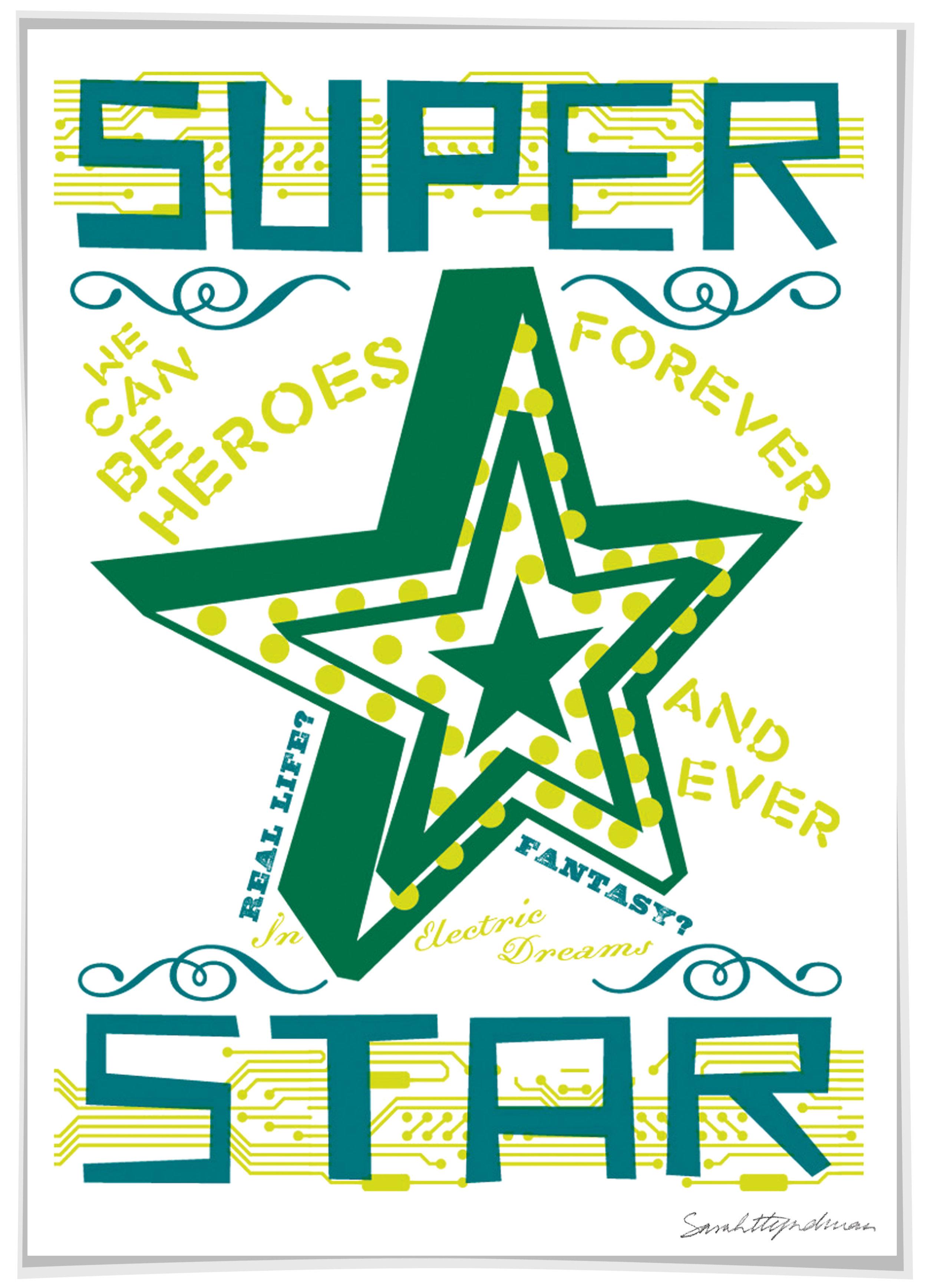 Super Star screen print by Sarah Hyndman