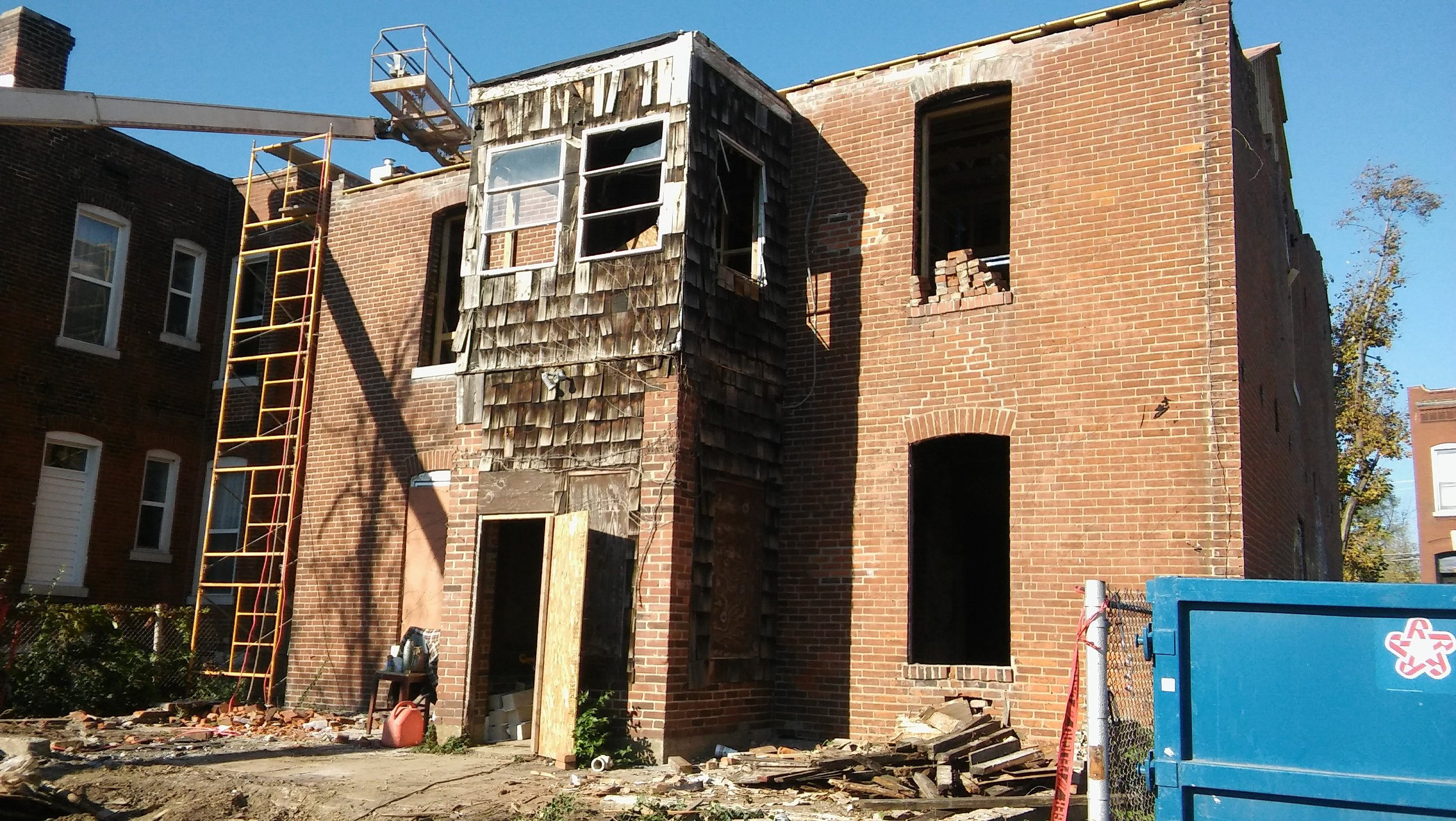 Back of 3114 After Fire and During Renovation