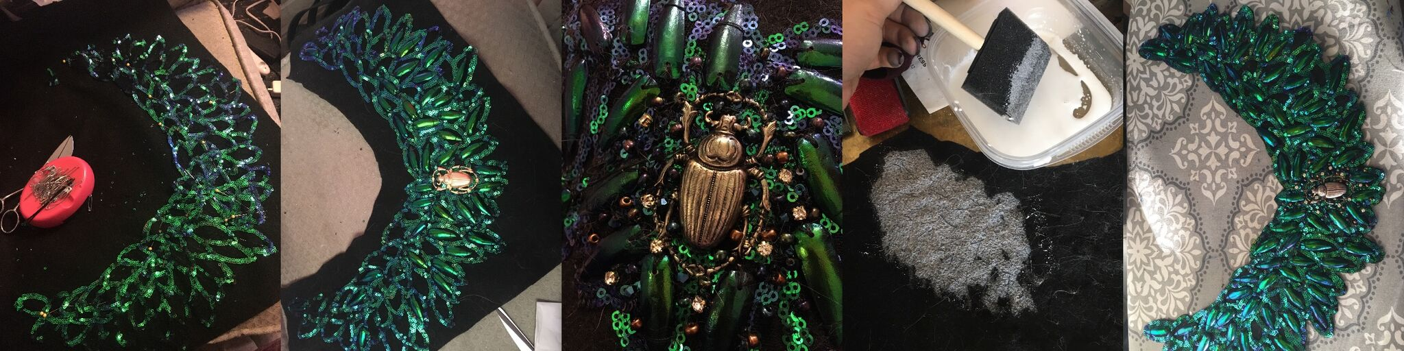 So many beetle wings, and so much hand sewing.