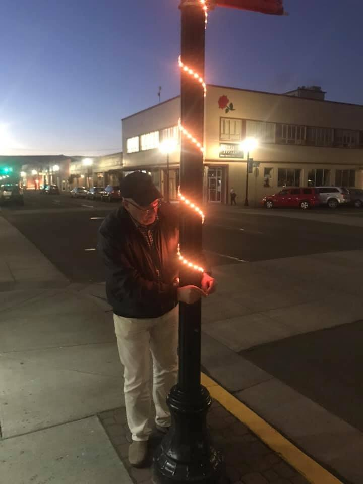 Don Warren-Main Street President tests out our new lights downtown.