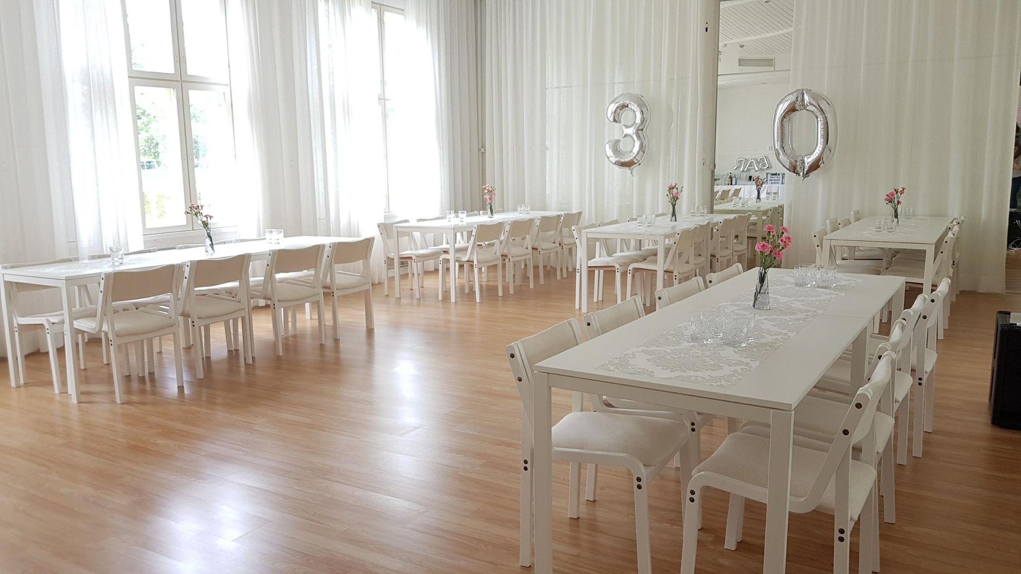 KATAJAsali / ToeStar-sali - 65m². Istumapaikkoja mahtuu noin 80kpl ja pöytien ääreen mahtuu noin 60 henkilöä.Salissa on äänentoisto. Muu kokoustekniikka sopimuksen mukaan.80,oo€ 08:00 - 12:00 arkipäivänä80,oo€ 12:00 - 16:00 arkipäivänä130,oo€ Arkipäivä kello 08:00-16:00 (arki-illat eivät ole varattavissa)250,oo€ Perjantai350,oo€ LauantaiKaunis ja valoisa Kataja | ToeStar-sali on vuokrattavissa aamu- ja iltapäiväksi arkipäivisin ja perjantaisin ja lauantaisin koko päiväksi. Sali on tyhjä, mutta Puu-Anttilan kalusteet ovat käytettävissä. Mikäli salissa on tanssitunteja kyseisenä päivänä, pitää sali olla tyhjennetty ja siivottu tuntia ennen kuin tanssitunnit alkavat.