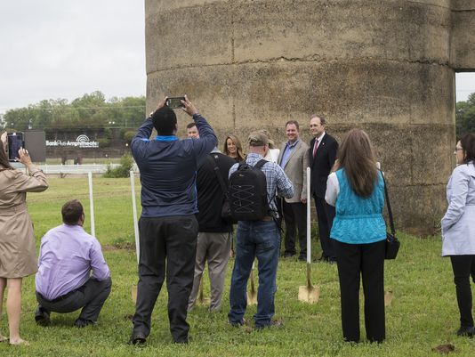 Brian Hill, Silo Square developer and owner, left, and Secretary of State of Mississippi Delbert Hosemann, right, pose for pictures after the groundbreaking ceremony for Silo Square in Southaven. The Silo Square development located on farmland between Getwell and Tchulahoma roads south of Goodman calls for a mixture of residential, commercial and public uses built around a central Main Street boulevard.  -  Photo: Brad Vest / The Commercial Appeal