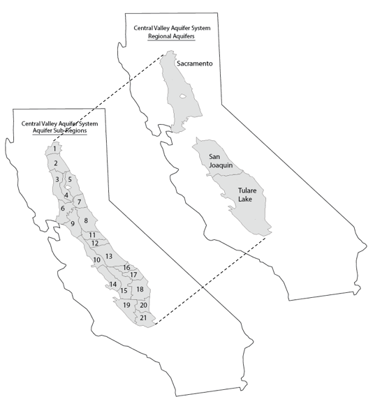 Central Valley CA 'subregions' (left) and regional aquifer systems (right) for which both CVHM and C2VSim were compared.
