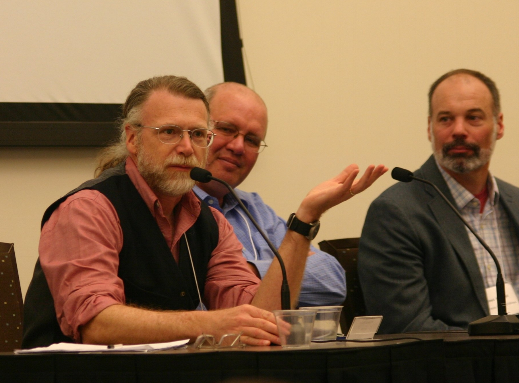 CCWAS Conference Panel Discussion with Mark Fiege, Ken Tate, and Reed Maxwell. Photo by Carole Hom.