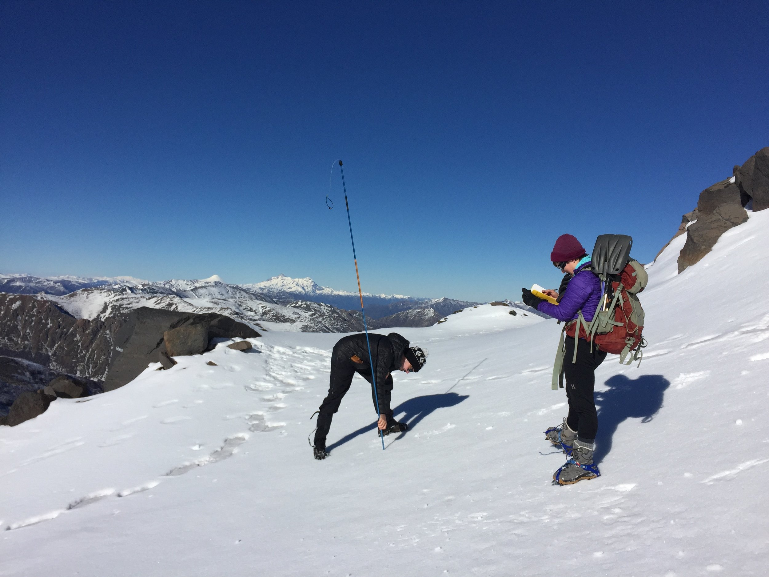 Identifying a suitable snow pit site.