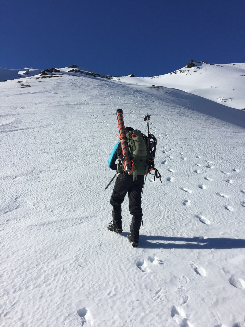 The approach to a snow sampling site.