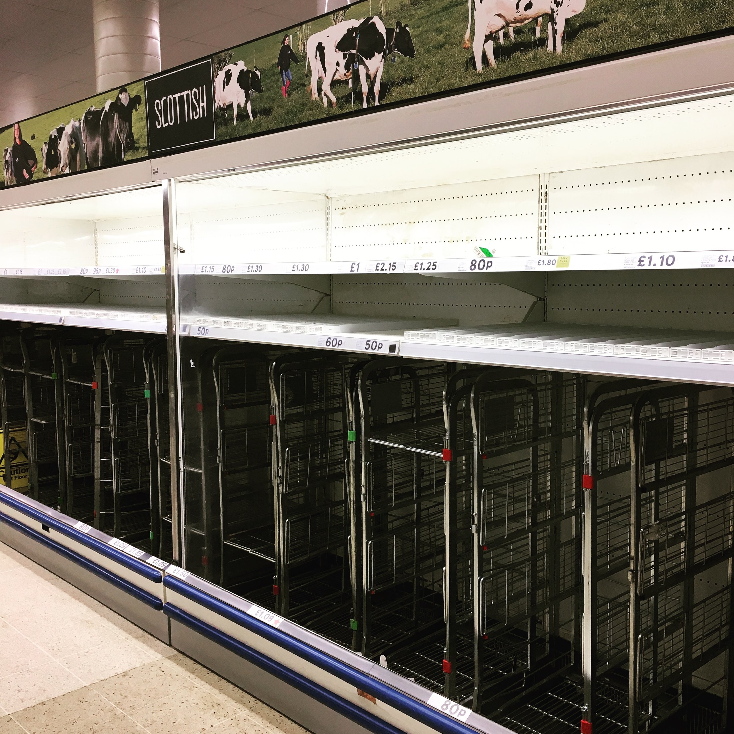 Empty shelves in Tesco Leith during the 'Beast from the East' snowstorm