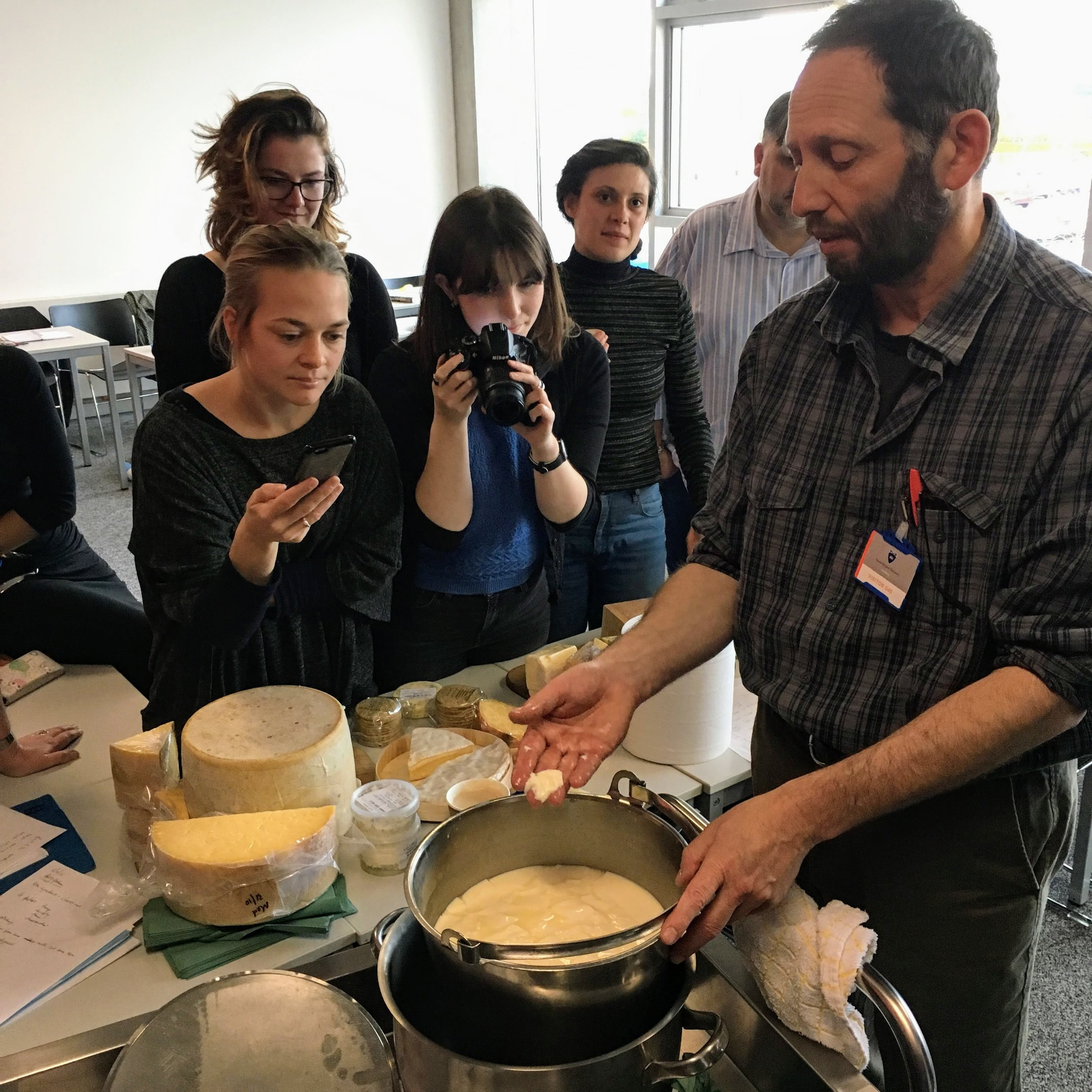 MSc Gastronomy students learning the politics & pleasures of raw milk cheese making with Barry Graham of Locharthur Creamery.