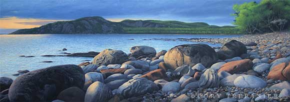 Theano Point as seen from the Alona River, painted by Canadian artist ©  Cory Trepanier (Image courtesy of the artist)
