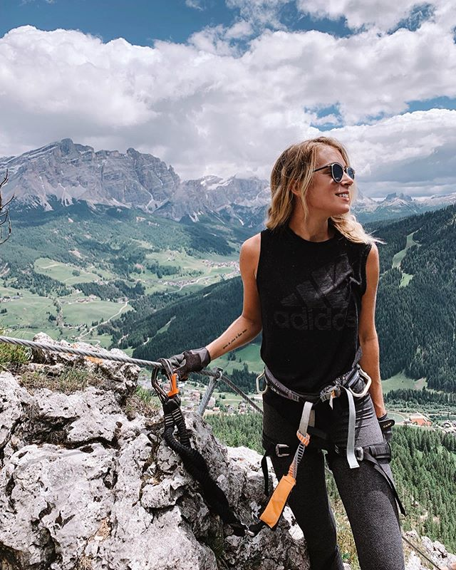 """""""Whatever you do, don't unclip at the top"""" -my Italian-Austrian Via Ferrata guide named Ivan 👨🏻 . . Me: Summits a mountain, forgets everything . . *swipe left 😂"""