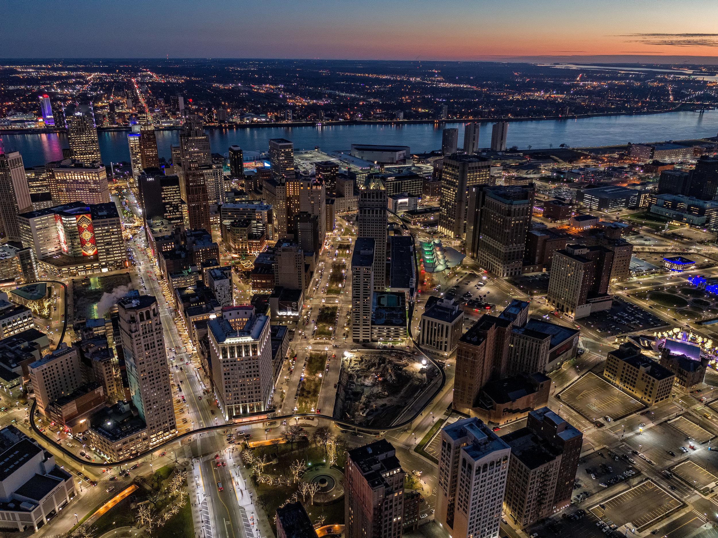 Downtown Detroit Aerial Photograph