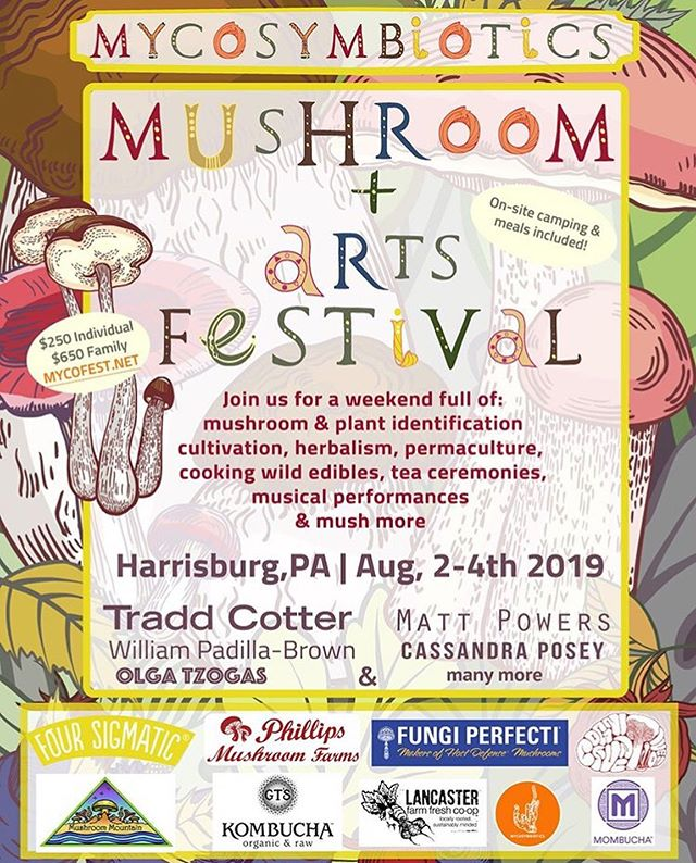 Good morning!  In a few weeks you can find me here, at the fifth annual MycoSymbiotics Mushroom and Arts Festival In Harrisburg, Pennsylvania @mycofest  August 2-4, 2019  Hosted and organized by @cassandraposey @mycosymbiote and @girlsjustwannahavefunngi  This year is packed with lots of amazing teachers and I get to meet folks I haven't yet in the myco world... so I pumped.  Find me alongside : @breakfast_of_champignons  @sporeprints  @indyofficinalis  @returntonature  @myco_uprrhizal  @mycologic  @charliceps  @thepermaculturestudent & more others!  Hooray for back to back mushroom fest season!  Grab your tickets for this magical weekend! there's still a sale for 20% off tickets so grab them today!  The festival includes camping and meals too! Totally worth it y'all!  #mycology #fungi #mycosymbiotics #mycelium #pennsylvania #harrisburg #love #smugtownmushrooms