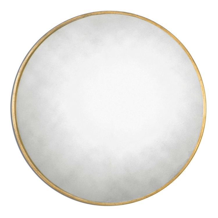 Antiqued Glass Round Mirror