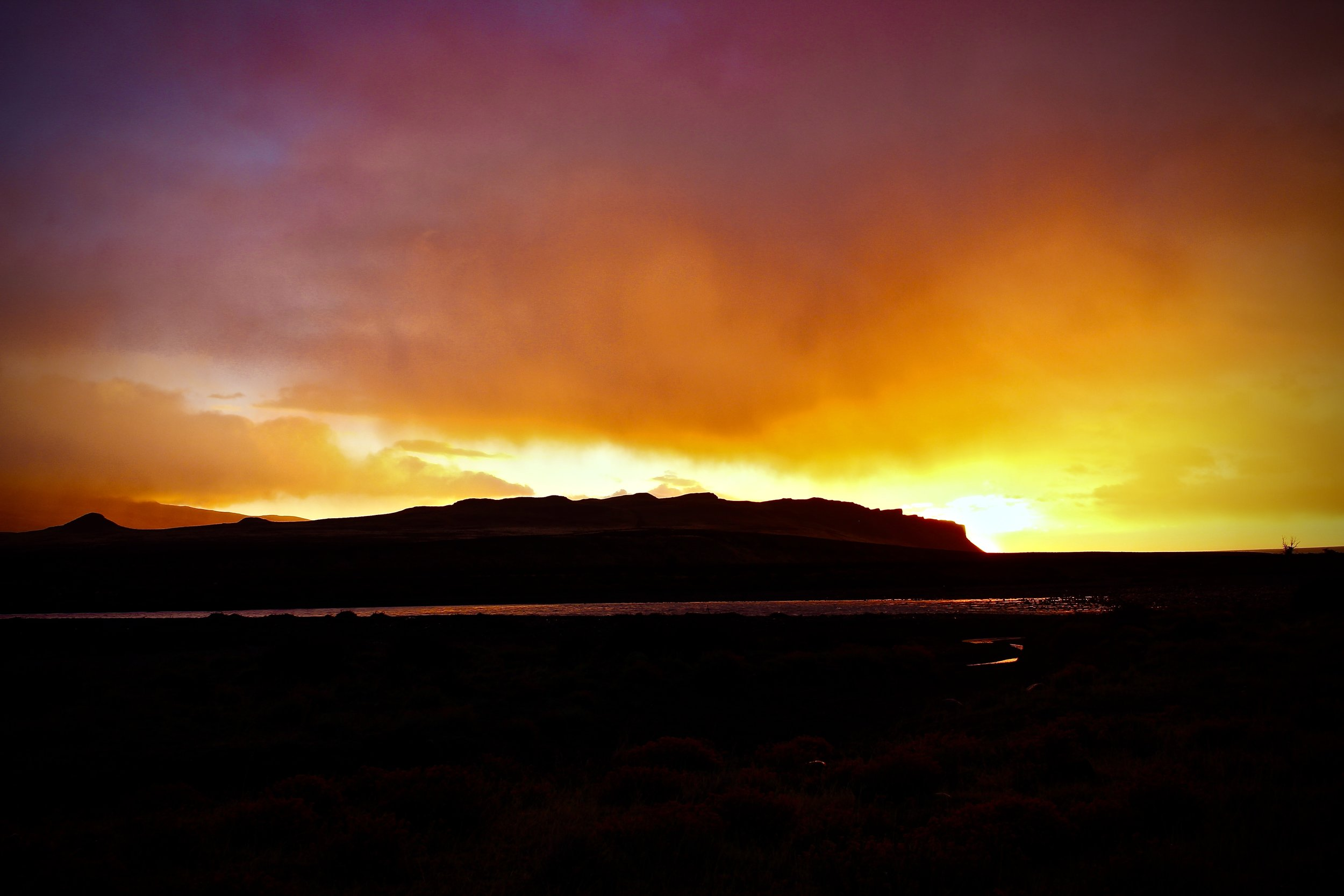Sunrise driving to Torres del Paine