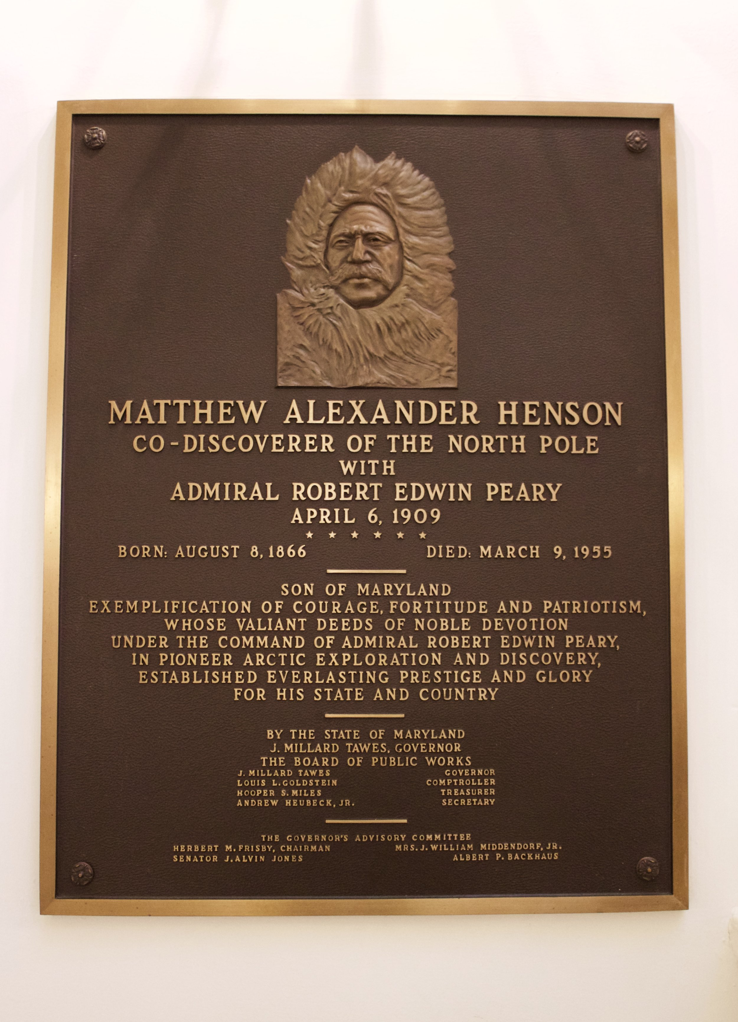 Matthew Henson, co-disocverer of the North Pole, was born in Maryland in 1866