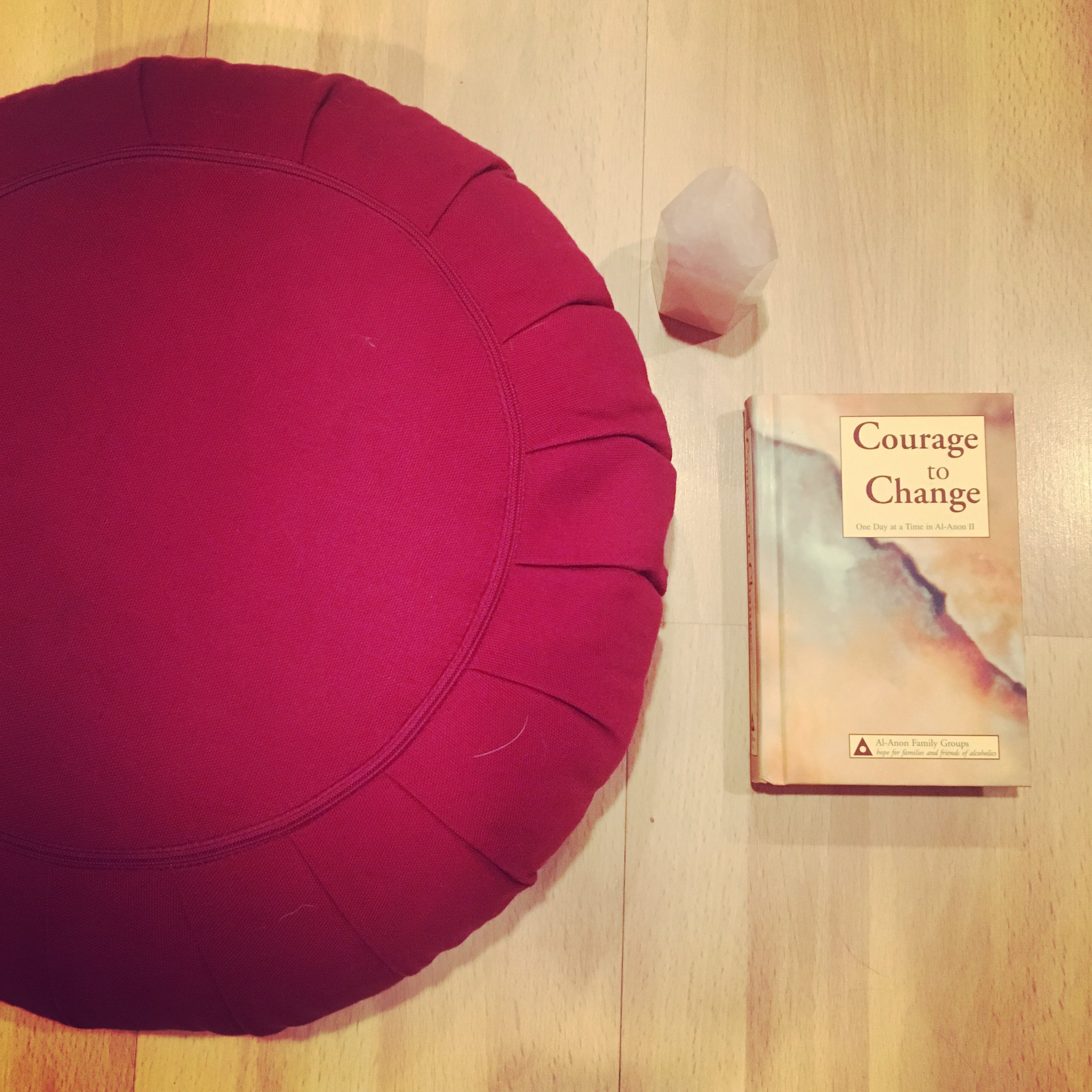 Wherever I go, I bring a cushion or a mat (sometimes both), a book of daily inspirations & crystals, to build a routine and a space to practice wherever I am.
