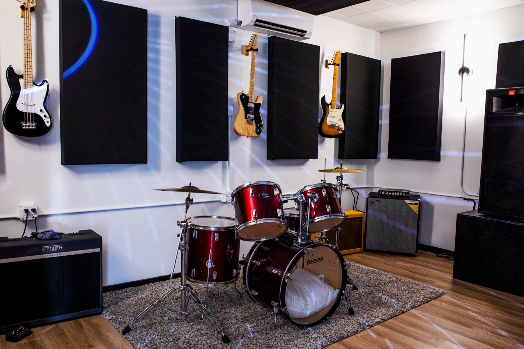 Studio 3 - 17 x 12.5 $22 An HourFender Blues DeluxeFender Hot Rod X 2Fender RUMBLE 410 Cabinet & RUMBLE 800 HeadLudwig Drum Kit (22, 12, 13, 16; 14 x 6 1/2 snare)Behringer consoleJBL speakers and monitor