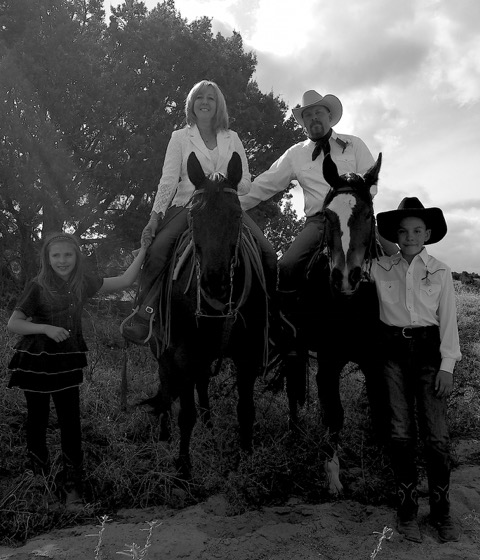 Loal & Wendy married April 30th, 2016 - Horseback. From Left to Right; Abrie, Cowboy, Wendy, Whiskey, Loal G. and Loal P.