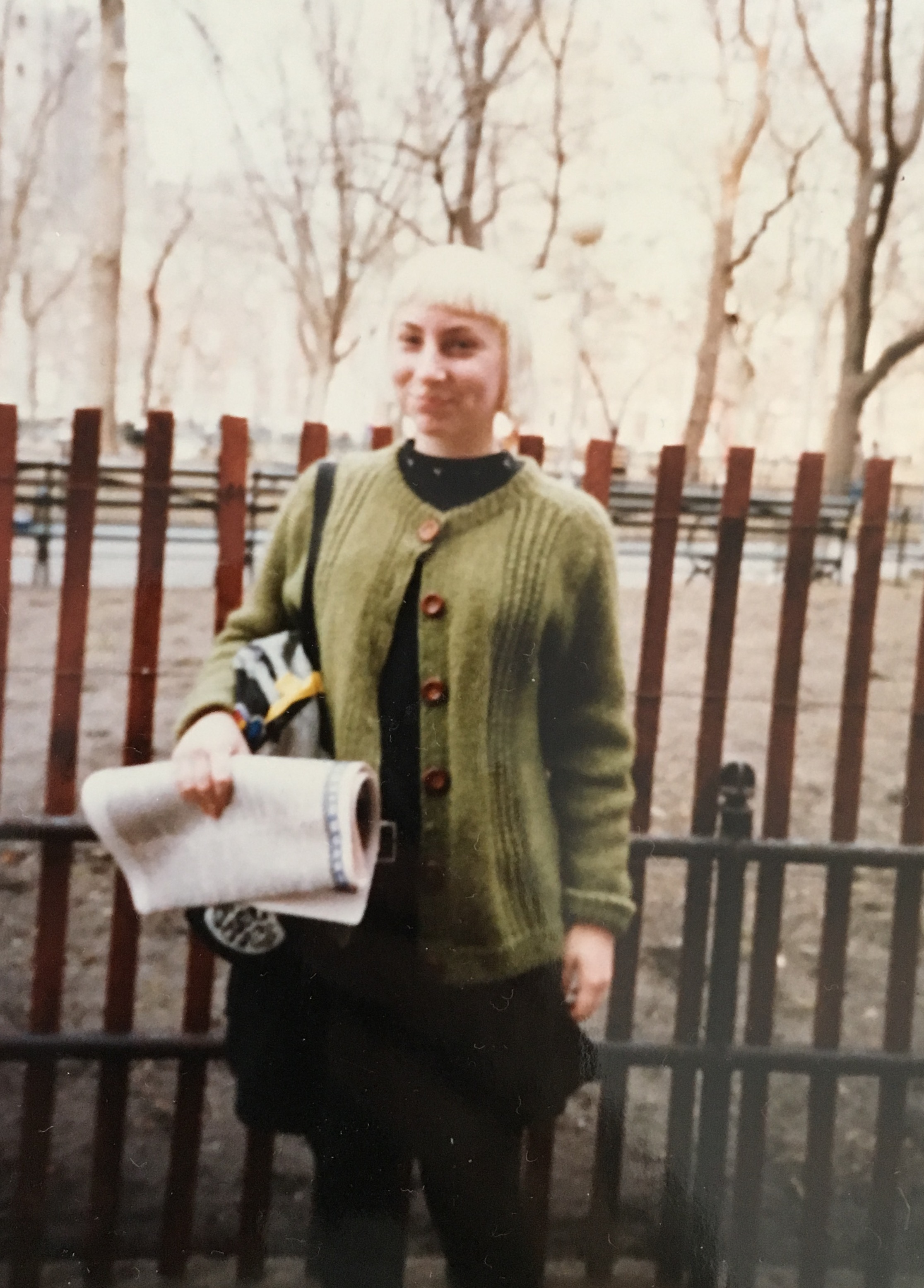 The designer (and the cardigan) in 1987