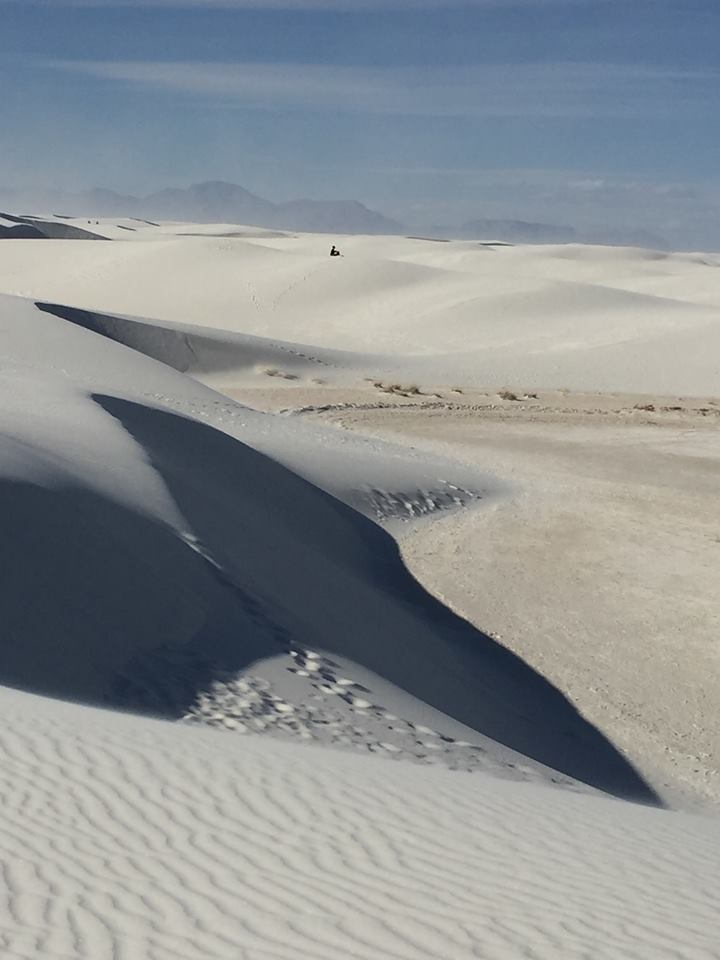 Kim at White Sands National Monument. She's that dot. photo: Diane Bourget
