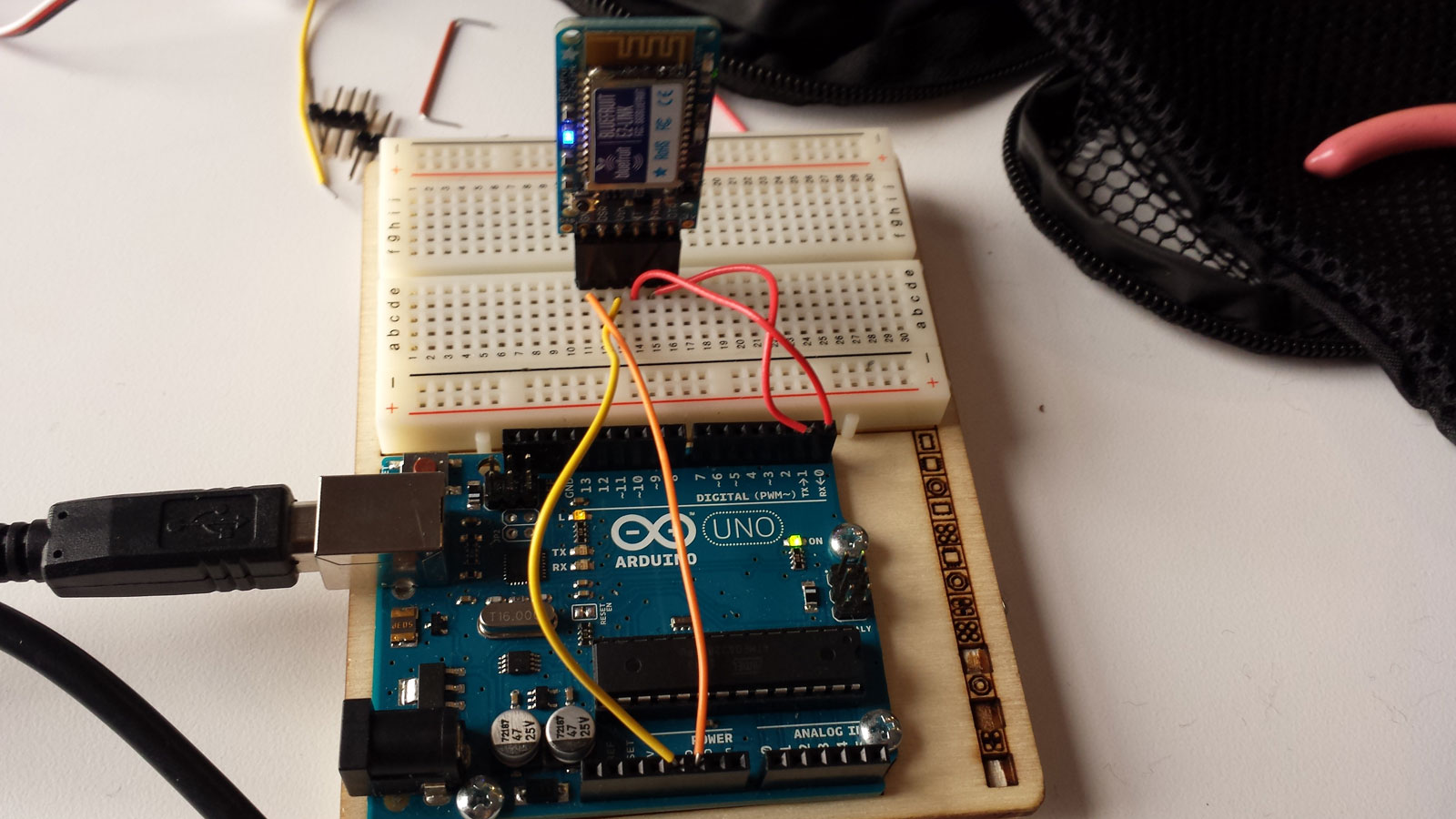 We used bluetooth and Arduino to send the signal