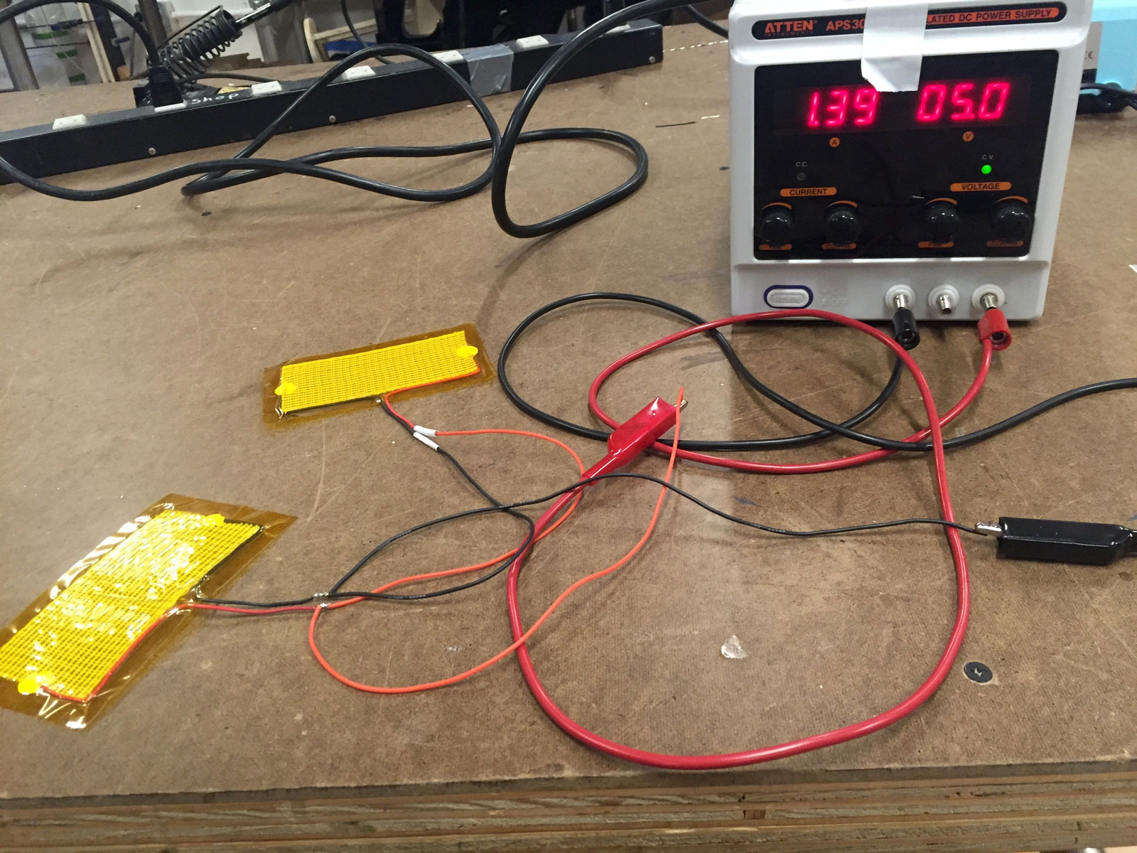 - I hooked up my heating element to a power supply to test the voltage and amperage required in order to select the appropriate battery.