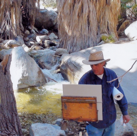 Terry Masters painting in Andreas Canyon. Photo by Andrew Gillespie.