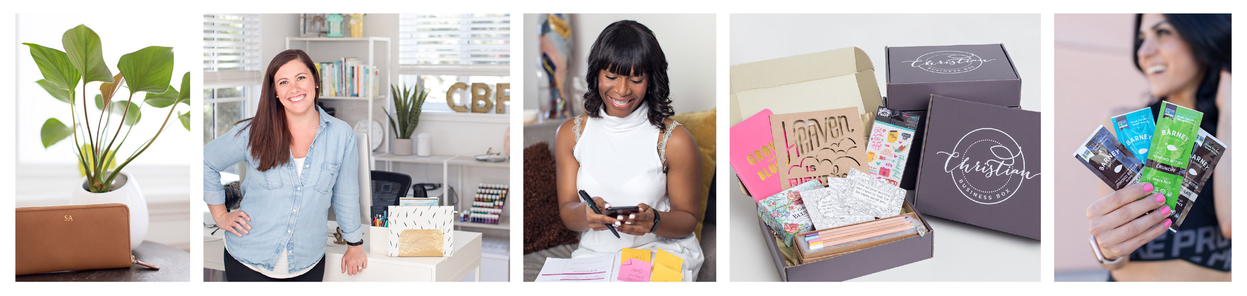Branding photography photo collage banner: image of leather wallet with plant; Caucasian female business owner in office; African American, female business owner looking at phone; product photography of subscription box; brand partnership influencer blogger.