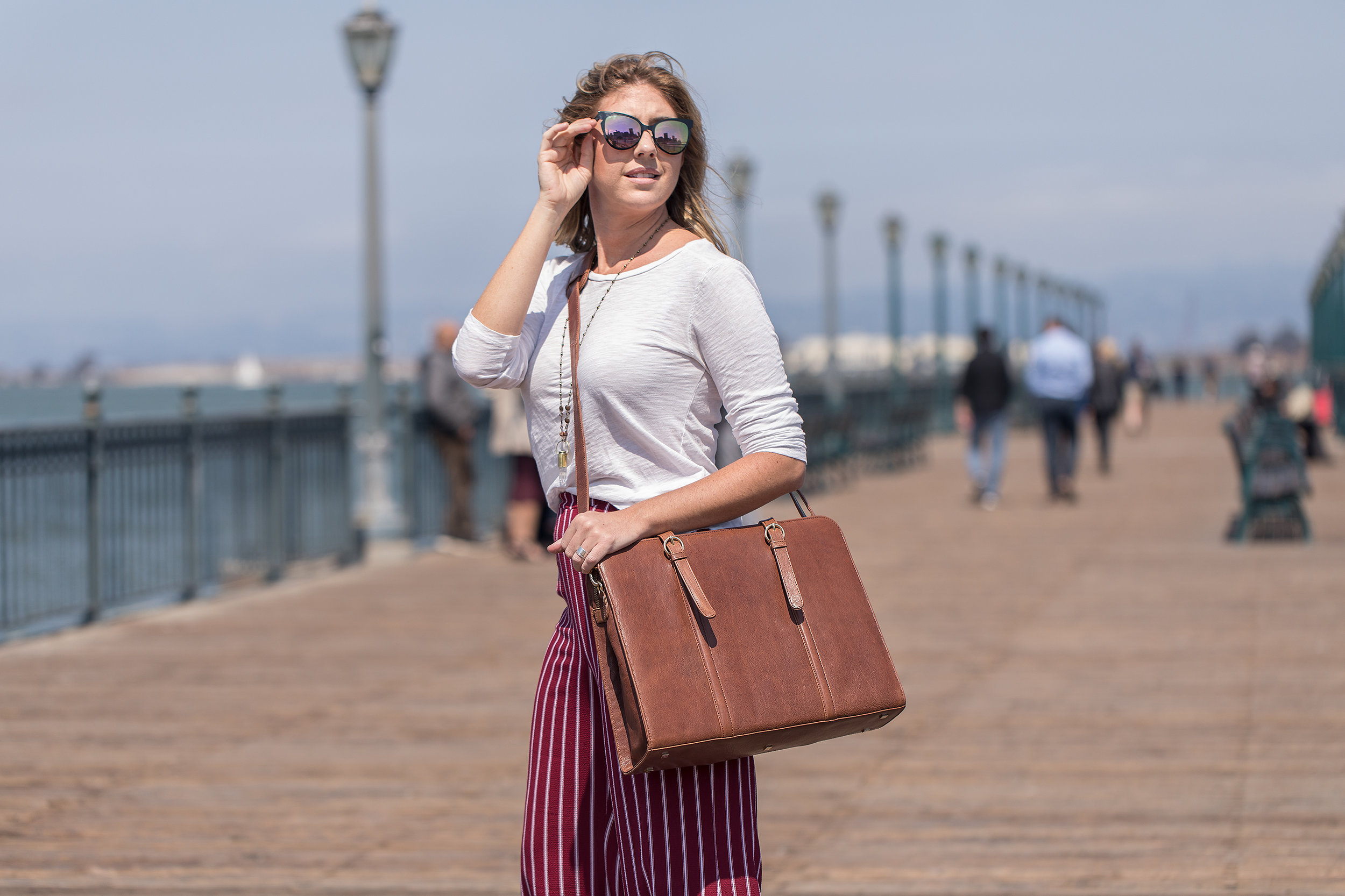 commercial fashion photography for Era81 laptop bag in san francisco businesswoman on the go