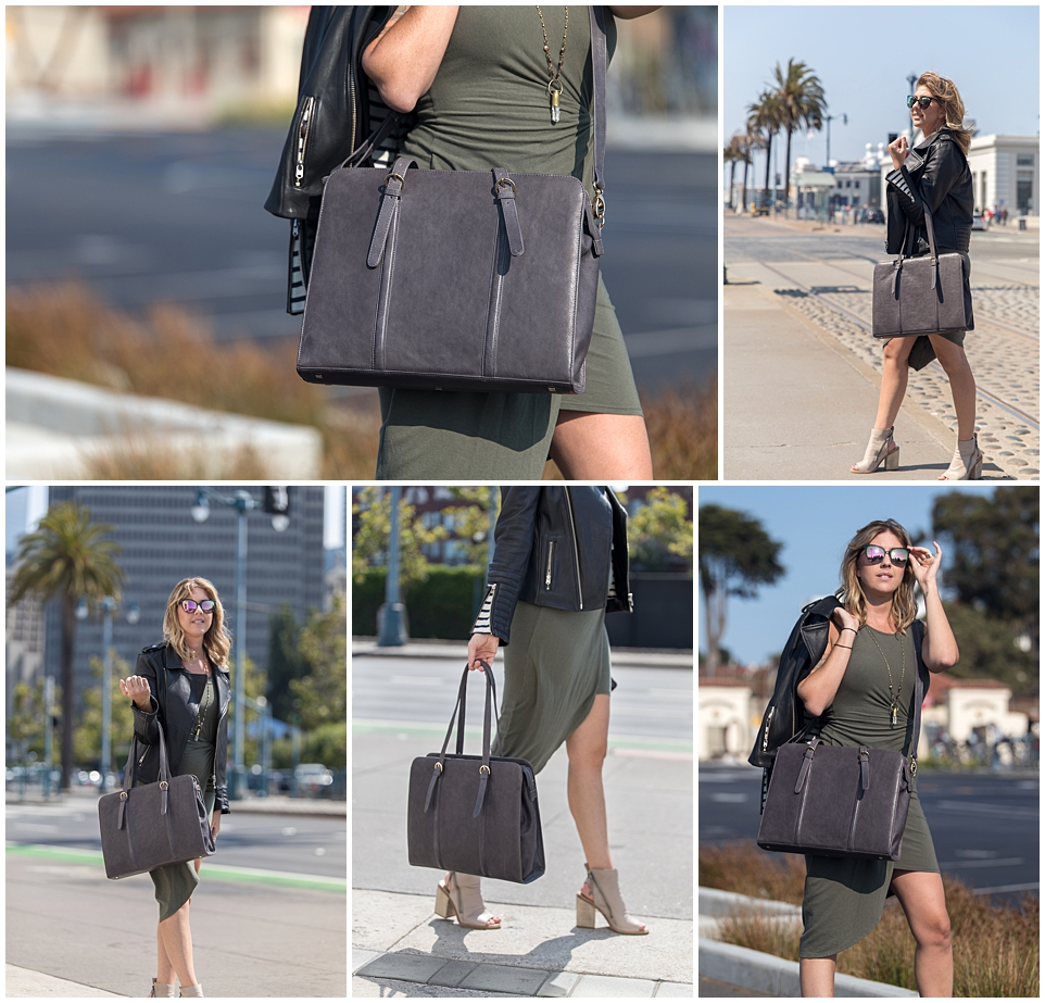 commercial and branding fashion photography for era81 handmade bags corporate businesswoman on the go