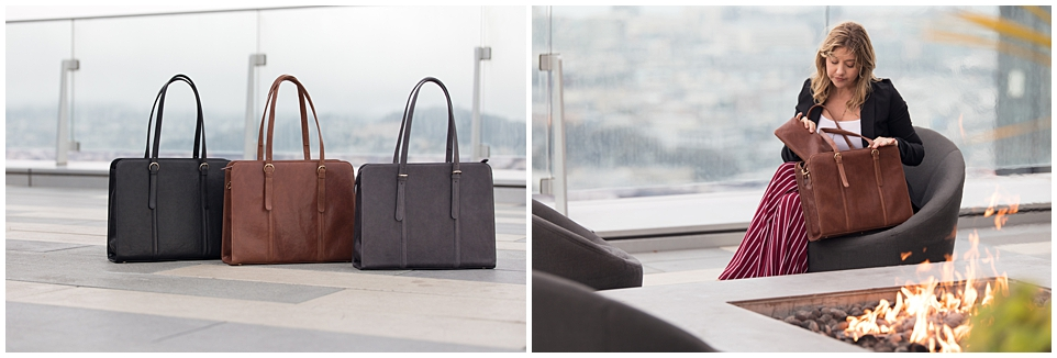 commercial and branding fashion photography for era81 handmade bags new york city san francisco laptop bag rooftop
