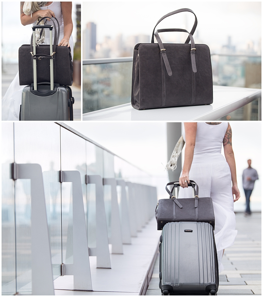 commercial and branding fashion photography for era81 handmade bags new york city rooftop leather laptop bag