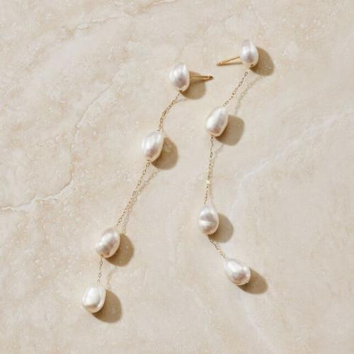 "ENDLESS"" TEARDROP PEARL & DIAMOND EARRINGS"
