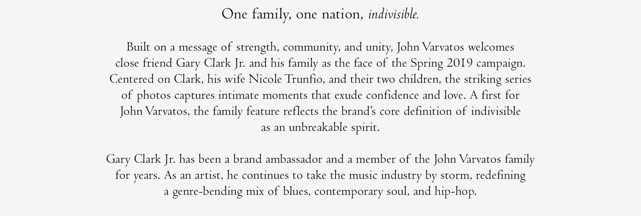 Nicole Trunfio Gary Clark Jr & Family - John Varvatos campaign 2