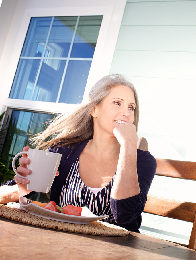 senior woman drinking coffee