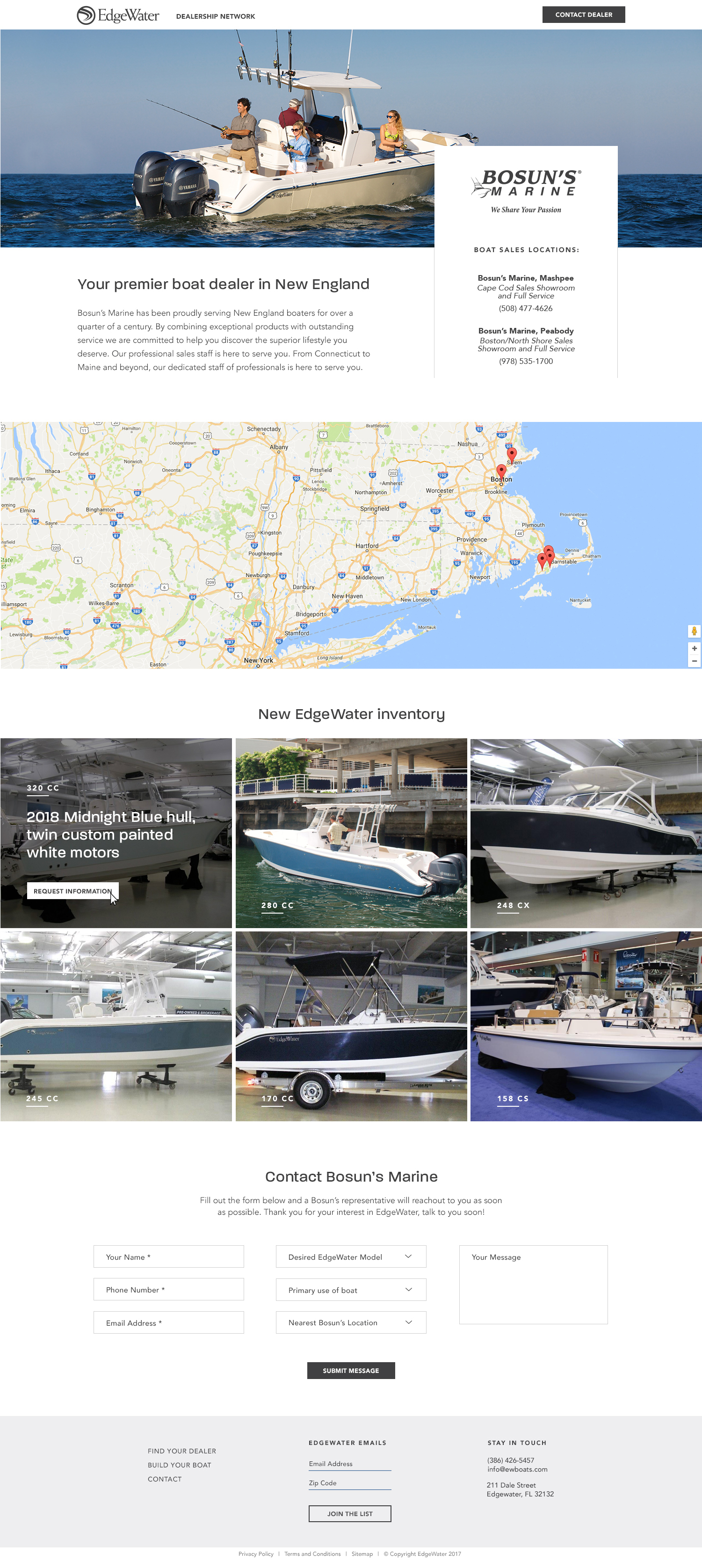 marine dealership landing page edgewater