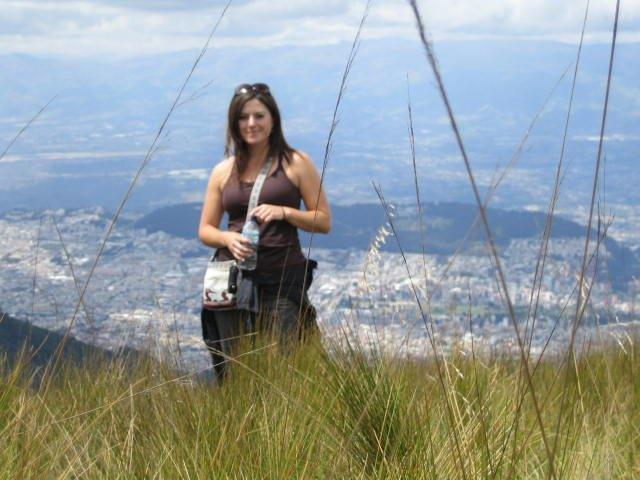 Nikki on an overlook above Quito, Ecuador, where she taught English and furthered her own second-language, Spanish.
